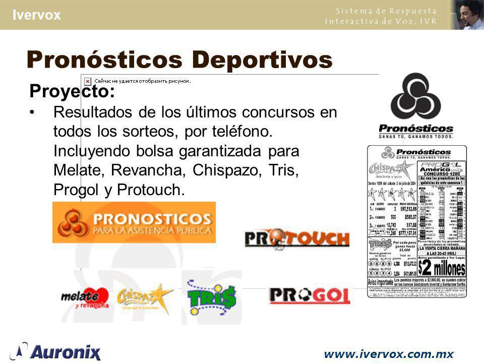 www.ivervox.com.mx Ivervox Proyecto del SNIIM: Consulta de información agropecuaria, pecuaria y pesquera vía telefónica y vía fax.