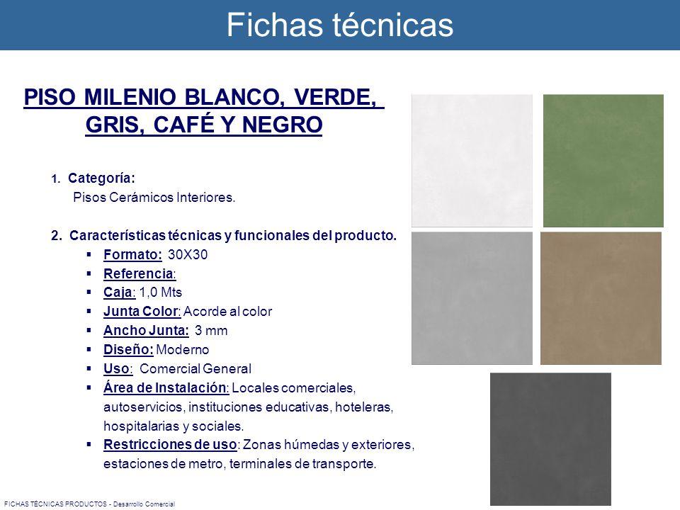1. Categoría: Pisos Cerámicos Interiores. 2. Características técnicas y funcionales del producto. Formato: 30X30 Referencia: Caja: 1,0 Mts Junta Color