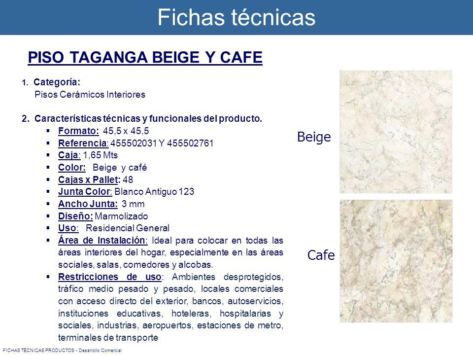 1. Categoría: Pisos Cerámicos Interiores 2. Características técnicas y funcionales del producto. Formato: 45,5 x 45,5 Referencia: 455502031 Y 45550276