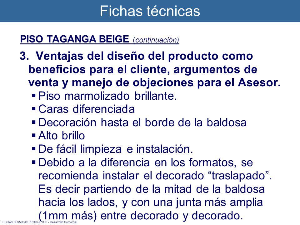 3. Ventajas del diseño del producto como beneficios para el cliente, argumentos de venta y manejo de objeciones para el Asesor. Piso marmolizado brill
