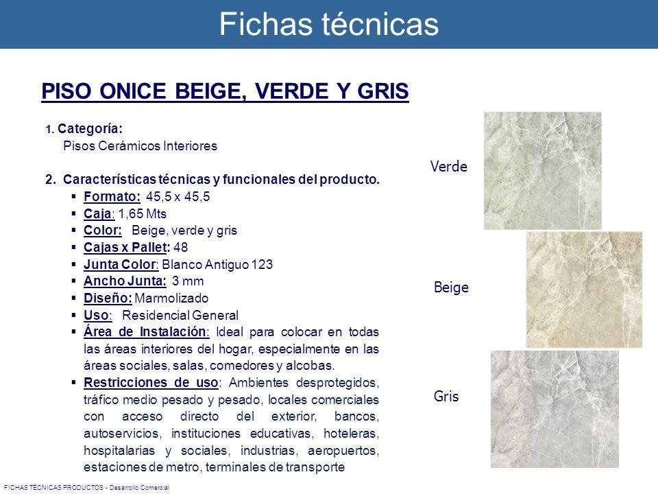 Fichas técnicas FICHAS TÉCNICAS PRODUCTOS - Desarrollo Comercial 1. Categoría: Pisos Cerámicos Interiores 2. Características técnicas y funcionales de