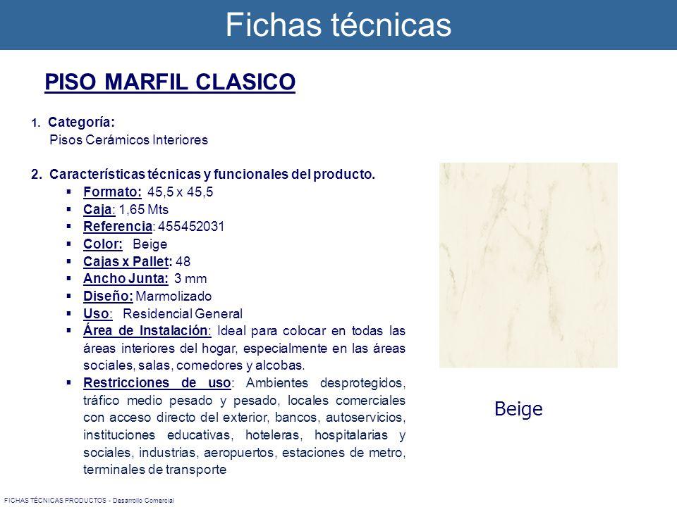 1. Categoría: Pisos Cerámicos Interiores 2. Características técnicas y funcionales del producto. Formato: 45,5 x 45,5 Caja: 1,65 Mts Referencia: 45545