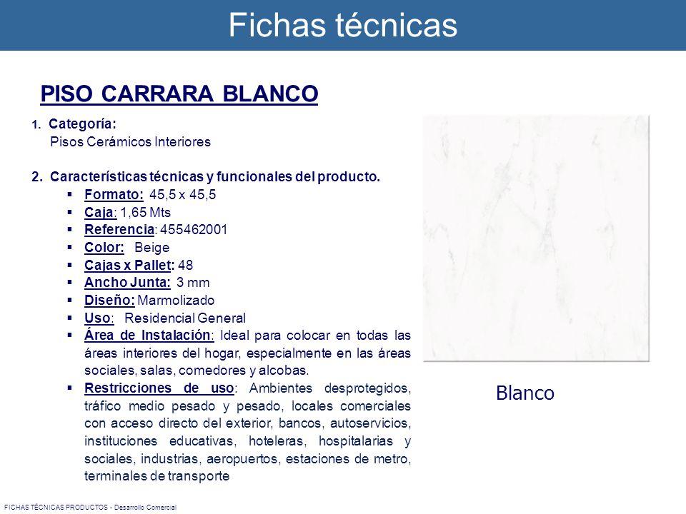 1. Categoría: Pisos Cerámicos Interiores 2. Características técnicas y funcionales del producto. Formato: 45,5 x 45,5 Caja: 1,65 Mts Referencia: 45546