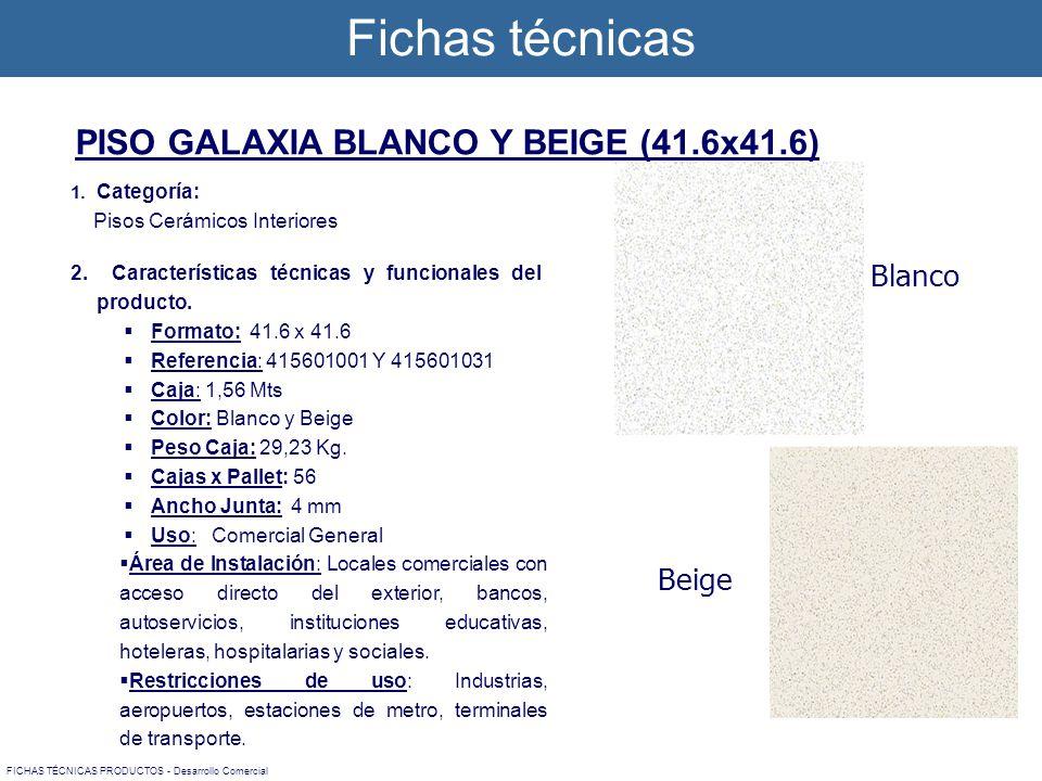1. Categoría: Pisos Cerámicos Interiores 2. Características técnicas y funcionales del producto. Formato: 41.6 x 41.6 Referencia: 415601001 Y 41560103