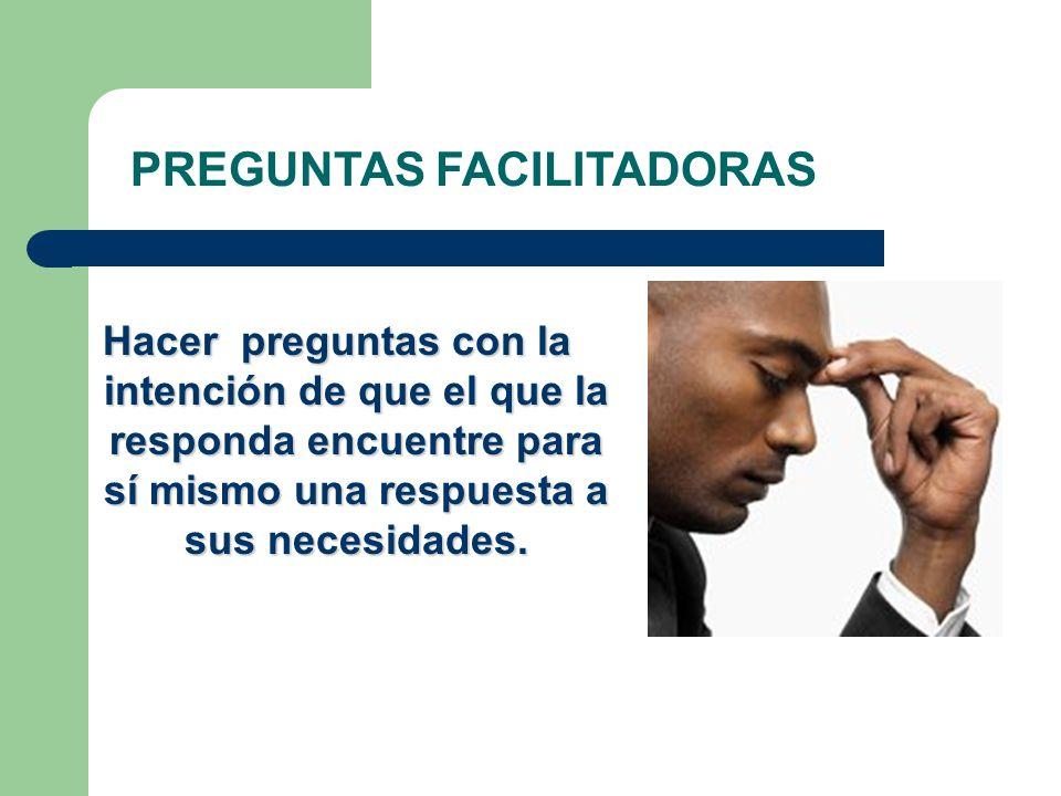 PREGUNTAS FACILITADORAS Hacer preguntas con la intención de que el que la responda encuentre para sí mismo una respuesta a sus necesidades.
