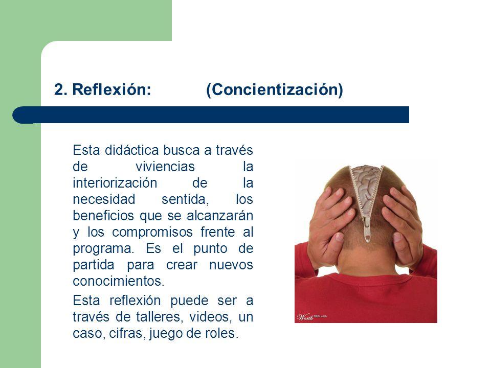 2. Reflexión: (Concientización) Esta didáctica busca a través de viviencias la interiorización de la necesidad sentida, los beneficios que se alcanzar