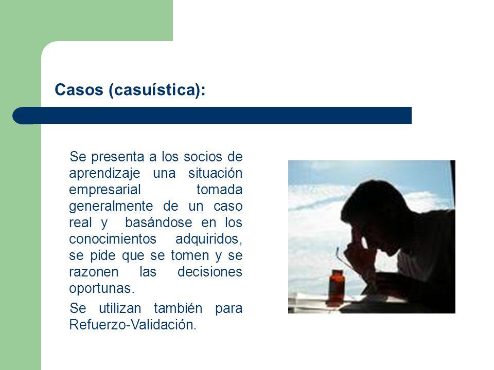 Casos (casuística): Se presenta a los socios de aprendizaje una situación empresarial tomada generalmente de un caso real y basándose en los conocimie