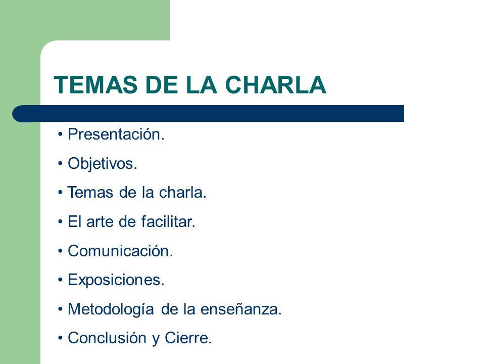 TEMAS DE LA CHARLA Presentación. Objetivos. Temas de la charla. El arte de facilitar. Comunicación. Exposiciones. Metodología de la enseñanza. Conclus