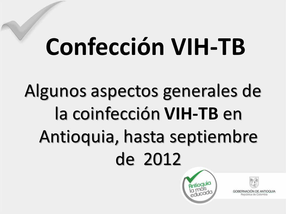Confección VIH-TB Algunos aspectos generales de la coinfección en Antioquia, hasta septiembre de 2012 Algunos aspectos generales de la coinfección VIH