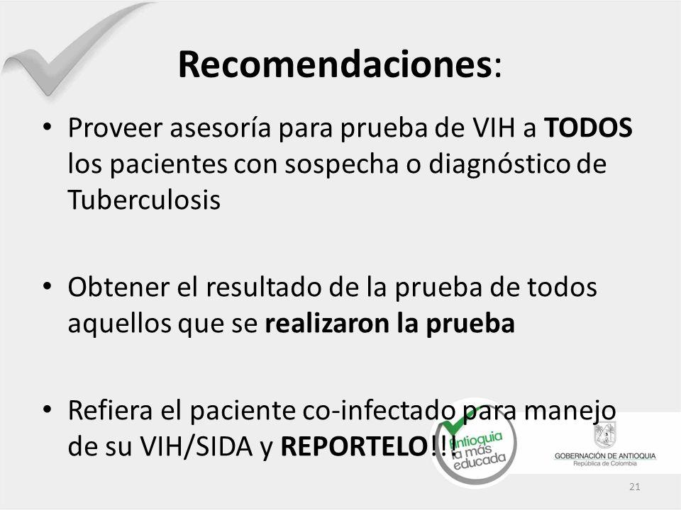 Recomendaciones: Proveer asesoría para prueba de VIH a TODOS los pacientes con sospecha o diagnóstico de Tuberculosis Obtener el resultado de la prueb