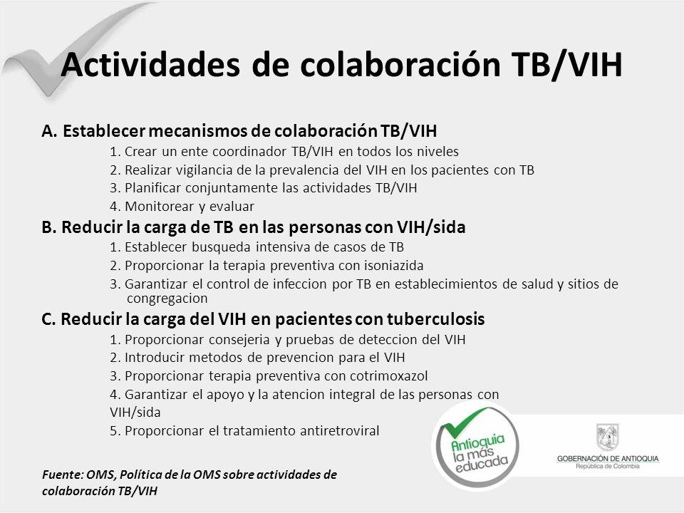 Actividades de colaboración TB/VIH A. Establecer mecanismos de colaboración TB/VIH 1. Crear un ente coordinador TB/VIH en todos los niveles 2. Realiza