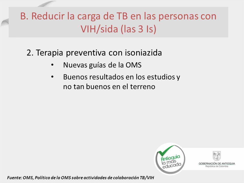 B. Reducir la carga de TB en las personas con VIH/sida (las 3 Is) 2. Terapia preventiva con isoniazida Nuevas guías de la OMS Buenos resultados en los