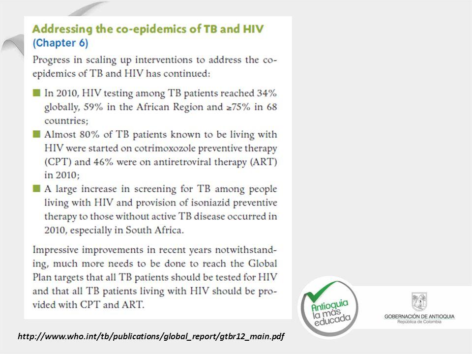 Cifras TB/VIH http://www.who.int/tb/publications/global_report/gtbr12_main.pdf
