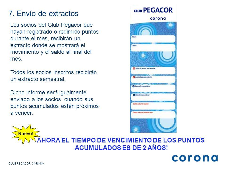 7. Envío de extractos Los socios del Club Pegacor que hayan registrado o redimido puntos durante el mes, recibirán un extracto donde se mostrará el mo
