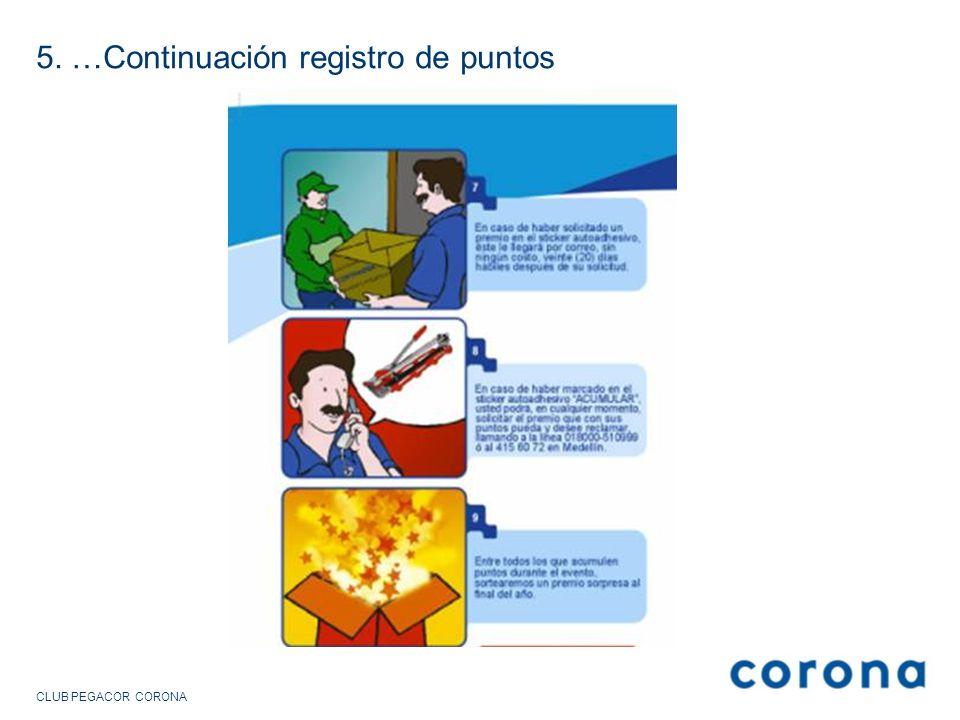 5. …Continuación registro de puntos CLUB PEGACOR CORONA