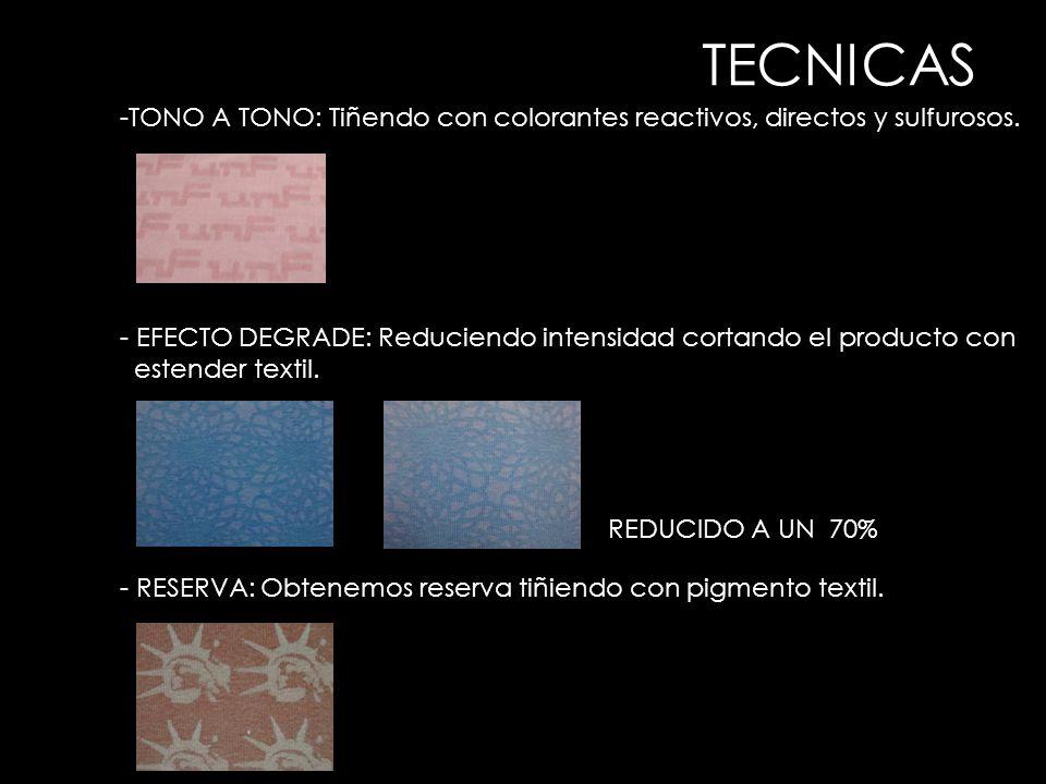 -TONO A TONO: Tiñendo con colorantes reactivos, directos y sulfurosos. - EFECTO DEGRADE: Reduciendo intensidad cortando el producto con estender texti