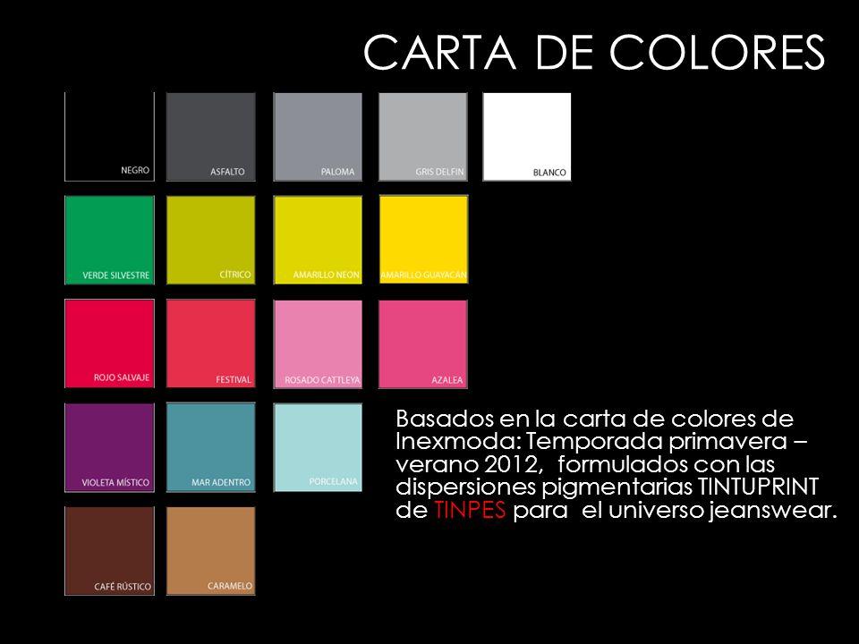 Basados en la carta de colores de Inexmoda: Temporada primavera – verano 2012, formulados con las dispersiones pigmentarias TINTUPRINT de TINPES para