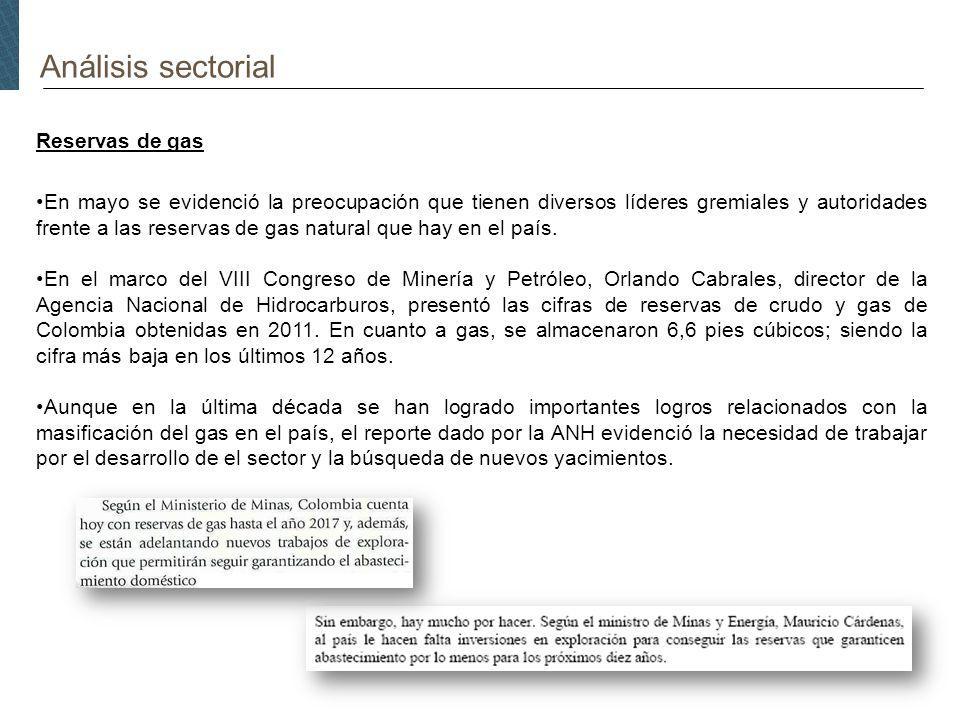Análisis sectorial Reservas de gas En mayo se evidenció la preocupación que tienen diversos líderes gremiales y autoridades frente a las reservas de gas natural que hay en el país.