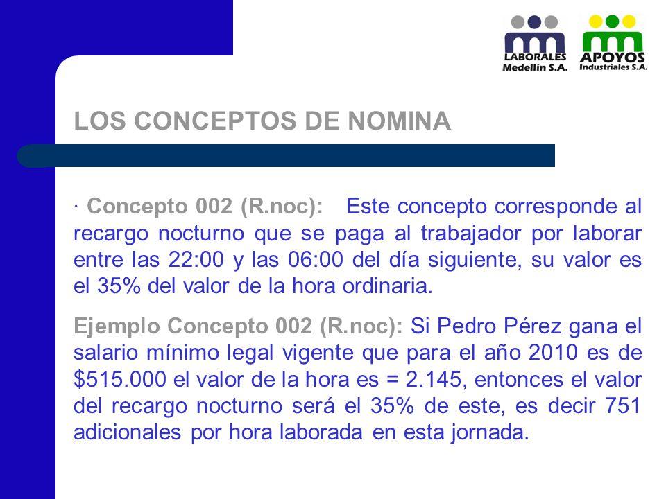 LOS CONCEPTOS DE NOMINA · Concepto 002 (R.noc): Este concepto corresponde al recargo nocturno que se paga al trabajador por laborar entre las 22:00 y