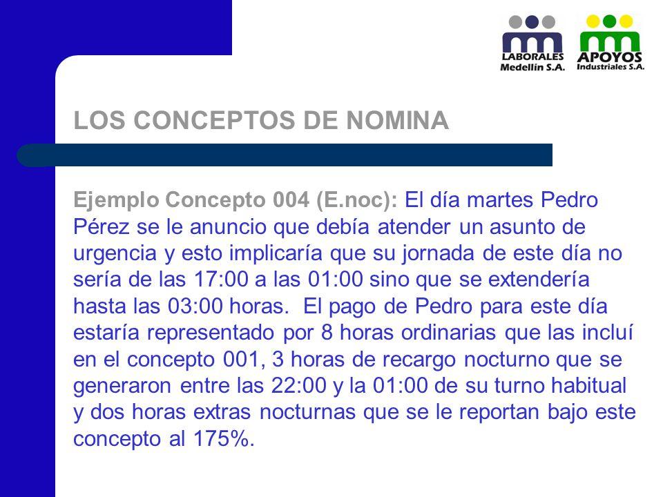 LOS CONCEPTOS DE NOMINA Ejemplo Concepto 004 (E.noc): El día martes Pedro Pérez se le anuncio que debía atender un asunto de urgencia y esto implicarí