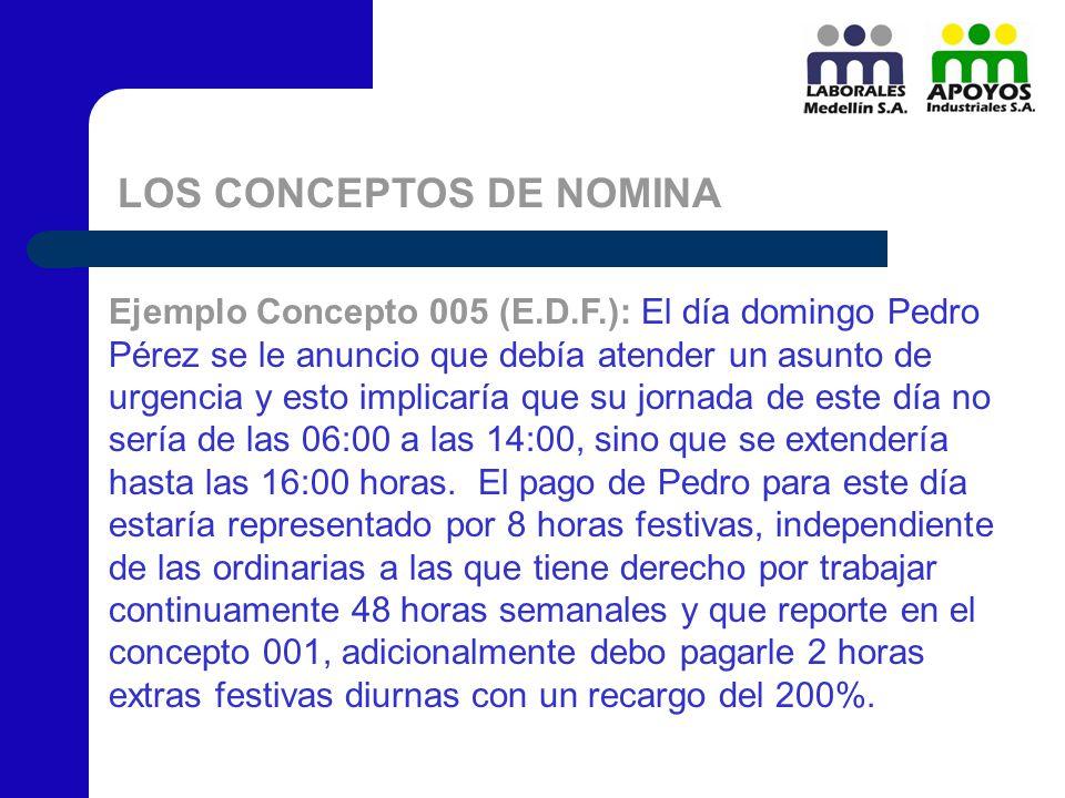 LOS CONCEPTOS DE NOMINA Ejemplo Concepto 005 (E.D.F.): El día domingo Pedro Pérez se le anuncio que debía atender un asunto de urgencia y esto implica