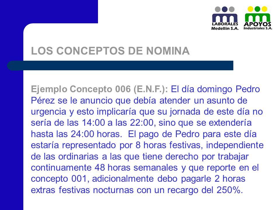 LOS CONCEPTOS DE NOMINA Ejemplo Concepto 006 (E.N.F.): El día domingo Pedro Pérez se le anuncio que debía atender un asunto de urgencia y esto implica