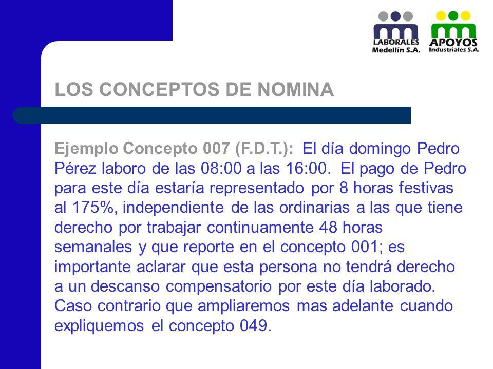 LOS CONCEPTOS DE NOMINA Ejemplo Concepto 007 (F.D.T.): El día domingo Pedro Pérez laboro de las 08:00 a las 16:00. El pago de Pedro para este día esta
