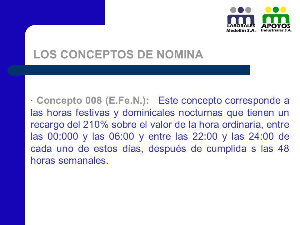 LOS CONCEPTOS DE NOMINA · Concepto 008 (E.Fe.N.): Este concepto corresponde a las horas festivas y dominicales nocturnas que tienen un recargo del 210
