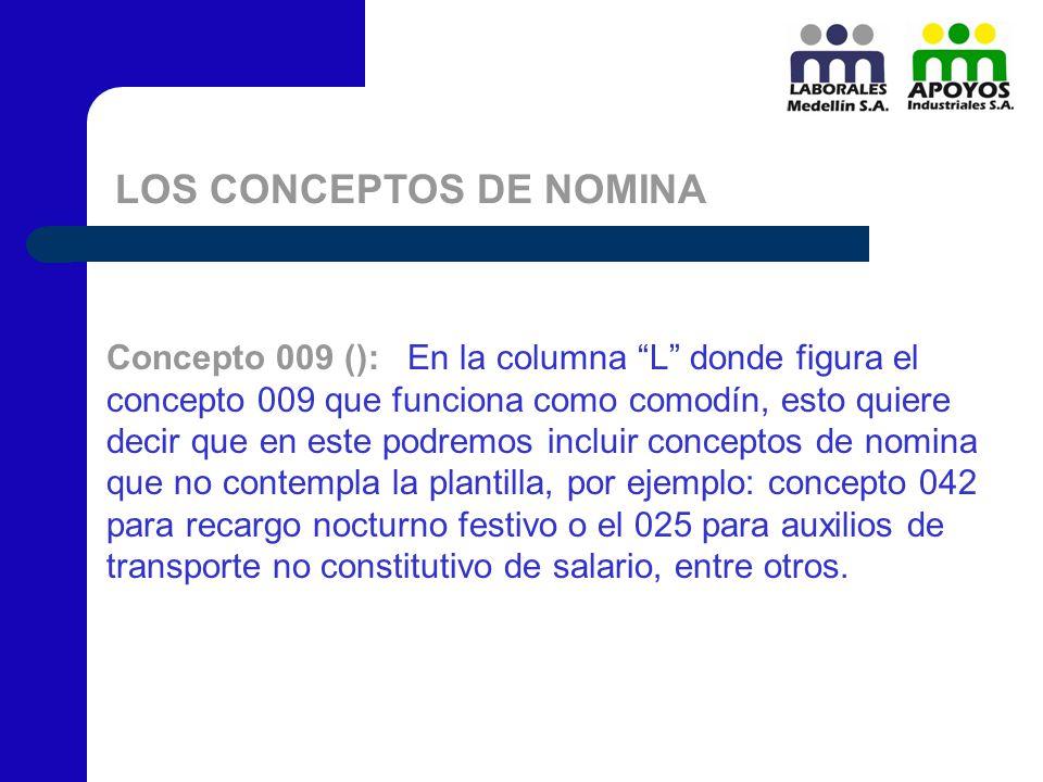 LOS CONCEPTOS DE NOMINA Concepto 009 (): En la columna L donde figura el concepto 009 que funciona como comodín, esto quiere decir que en este podremo
