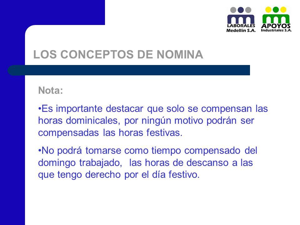 LOS CONCEPTOS DE NOMINA Nota: Es importante destacar que solo se compensan las horas dominicales, por ningún motivo podrán ser compensadas las horas f