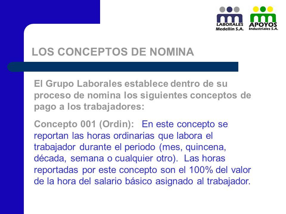 LOS CONCEPTOS DE NOMINA El Grupo Laborales establece dentro de su proceso de nomina los siguientes conceptos de pago a los trabajadores: Concepto 001
