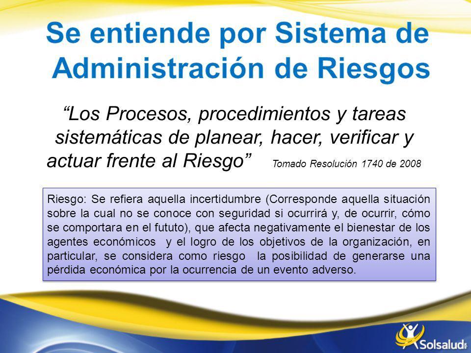 Los Procesos, procedimientos y tareas sistemáticas de planear, hacer, verificar y actuar frente al Riesgo Tomado Resolución 1740 de 2008 Riesgo: Se re