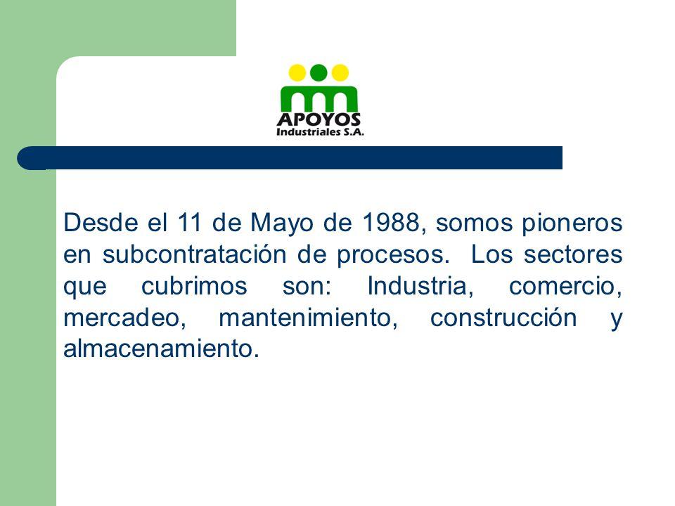 Desde el 11 de Mayo de 1988, somos pioneros en subcontratación de procesos. Los sectores que cubrimos son: Industria, comercio, mercadeo, mantenimient
