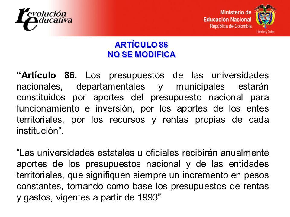 ARTÍCULO 86 NO SE MODIFICA Artículo 86.