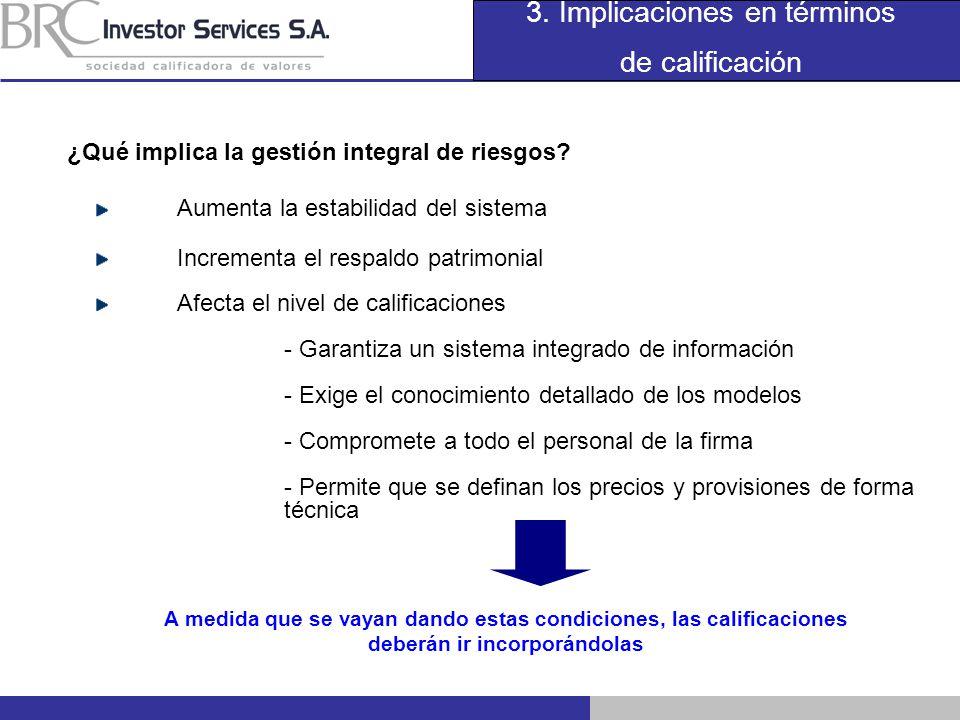 3. Implicaciones en términos de calificación ¿Qué implica la gestión integral de riesgos? Aumenta la estabilidad del sistema Incrementa el respaldo pa
