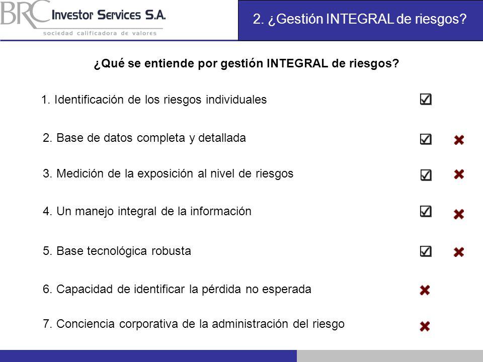 2. ¿Gestión INTEGRAL de riesgos? ¿Qué se entiende por gestión INTEGRAL de riesgos? 1. Identificación de los riesgos individuales 2. Base de datos comp
