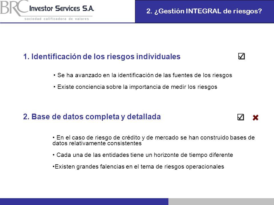2. ¿Gestión INTEGRAL de riesgos? 1. Identificación de los riesgos individuales Se ha avanzado en la identificación de las fuentes de los riesgos Exist