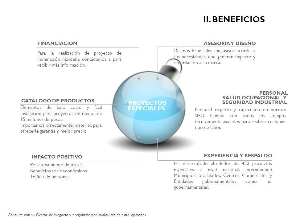 FINANCIACION ASESORIA Y DISEÑO EXPERIENCIA Y RESPALDO IMPACTO POSITIVO PROYECTOS ESPECIALES Para la realización de proyecto de iluminación navideña, c