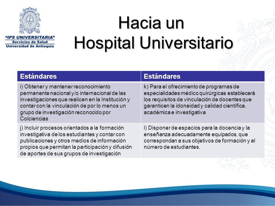 Hacia un Hospital Universitario Estándares i) Obtener y mantener reconocimiento permanente nacional y/o internacional de las investigaciones que reali