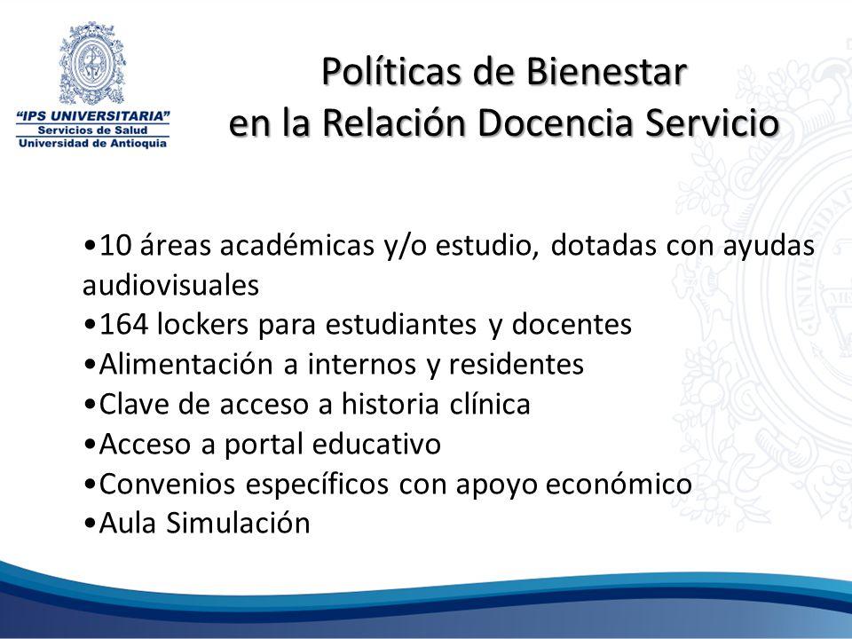 10 áreas académicas y/o estudio, dotadas con ayudas audiovisuales 164 lockers para estudiantes y docentes Alimentación a internos y residentes Clave d