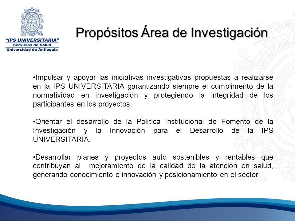 Impulsar y apoyar las iniciativas investigativas propuestas a realizarse en la IPS UNIVERSITARIA garantizando siempre el cumplimento de la normativida