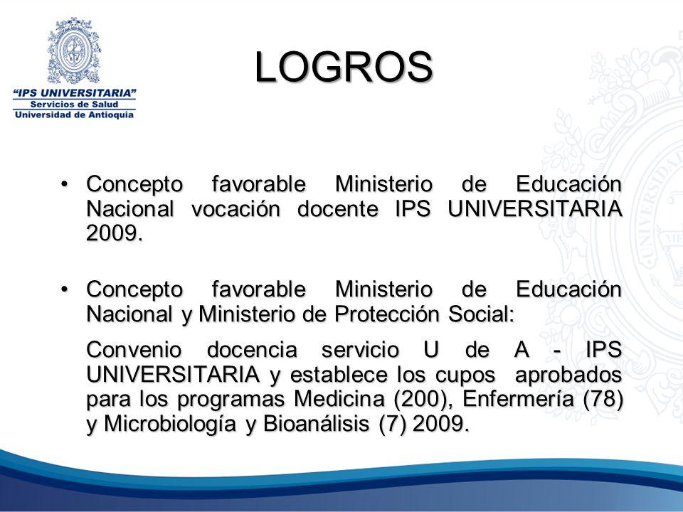 LOGROS Concepto favorable Ministerio de Educación Nacional vocación docente IPS UNIVERSITARIA 2009.Concepto favorable Ministerio de Educación Nacional