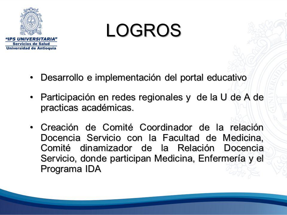 LOGROS Desarrollo e implementación del portal educativoDesarrollo e implementación del portal educativo Participación en redes regionales y de la U de