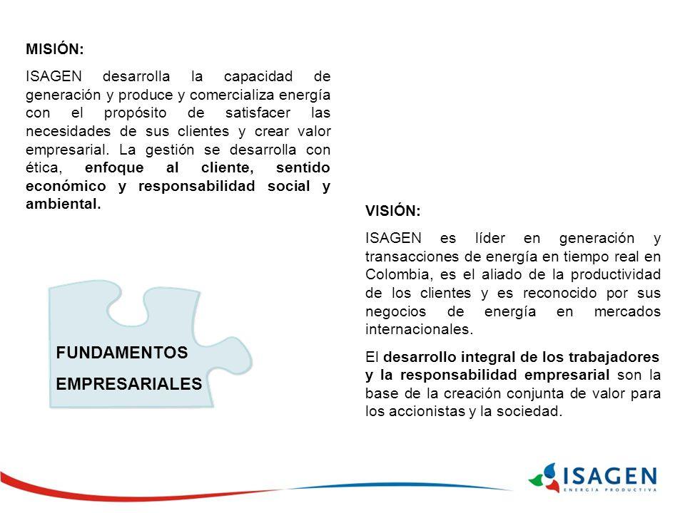 MISIÓN: ISAGEN desarrolla la capacidad de generación y produce y comercializa energía con el propósito de satisfacer las necesidades de sus clientes y crear valor empresarial.