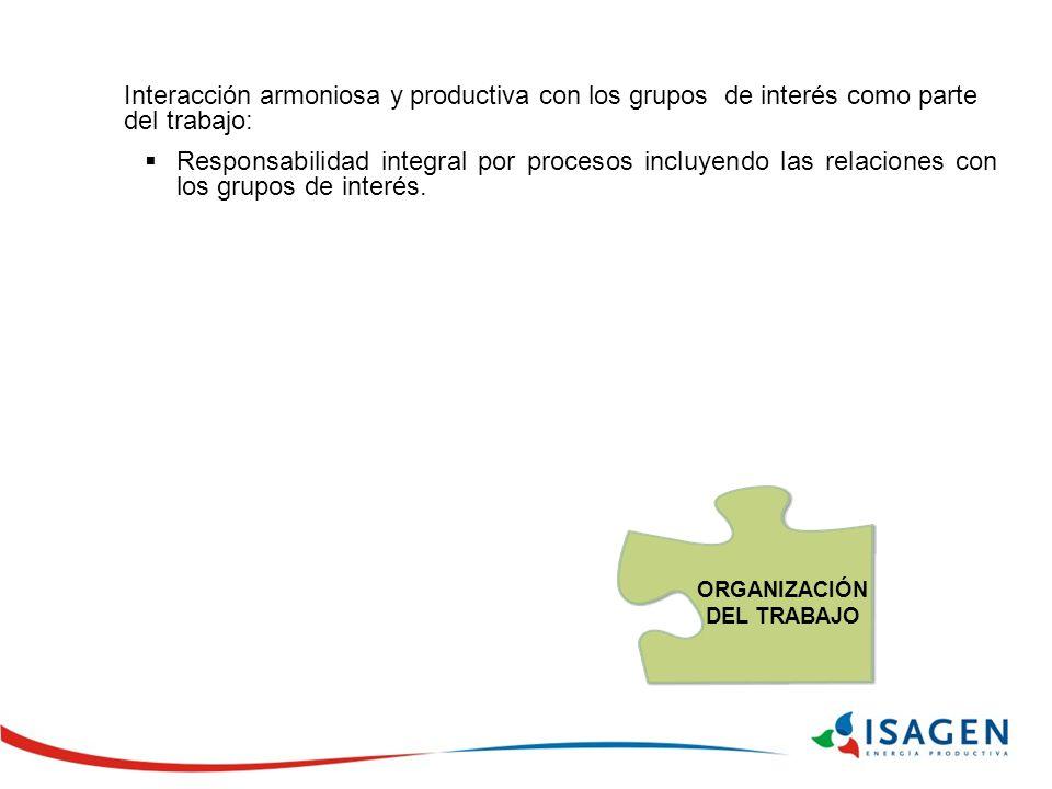 Interacción armoniosa y productiva con los grupos de interés como parte del trabajo: Responsabilidad integral por procesos incluyendo las relaciones con los grupos de interés.