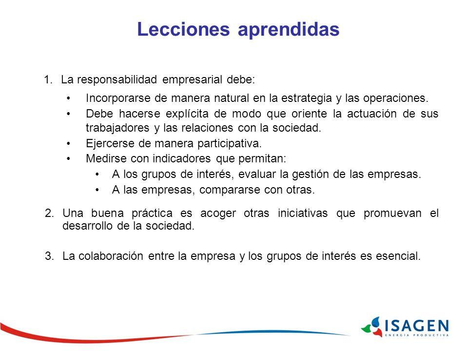 Lecciones aprendidas 1.La responsabilidad empresarial debe: Incorporarse de manera natural en la estrategia y las operaciones. Debe hacerse explícita