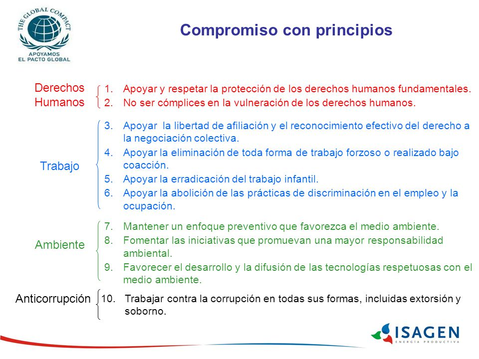 Compromiso con principios 1.Apoyar y respetar la protección de los derechos humanos fundamentales. 2.No ser cómplices en la vulneración de los derecho