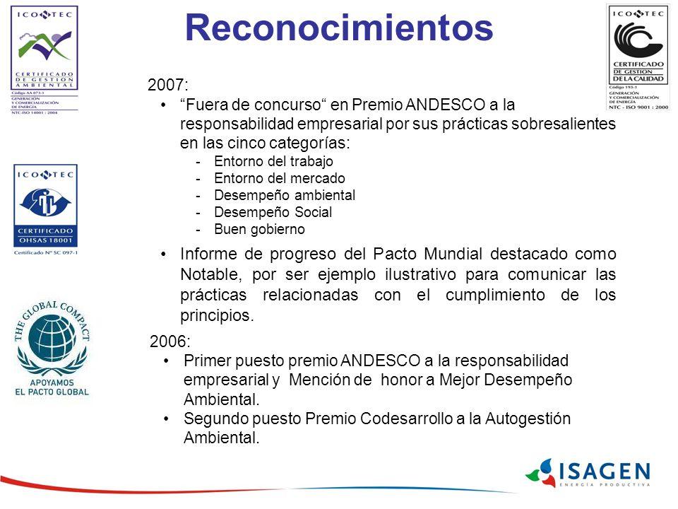 Reconocimientos 2006: Primer puesto premio ANDESCO a la responsabilidad empresarial y Mención de honor a Mejor Desempeño Ambiental.