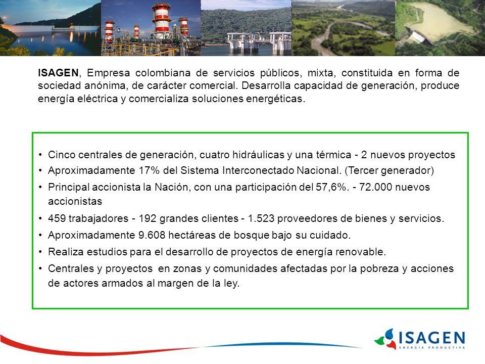 Cinco centrales de generación, cuatro hidráulicas y una térmica - 2 nuevos proyectos Aproximadamente 17% del Sistema Interconectado Nacional. (Tercer