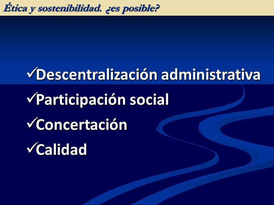 Descentralización administrativa Descentralización administrativa Participación social Participación social Concertación Concertación Calidad Calidad